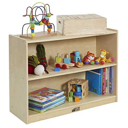 ECR4Kids Birch 2 Shelf Storage Cabinet with Back, Wood Book Shelf Organizer/Toy Storage