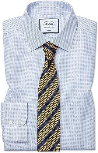 Chemise à Motif à Effet Tirets Bleue Coupe Droite Sans Repassage   Bleu (Poignet Simple)   16   36