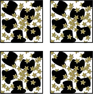 Beistle S50647GDAZ4, 4 Packages Fanci Fetti Top Hats and Mini Stars, 1 Ounce of Confetti in Package, Total of 4 Ounces of Confetti (Black/Gold)