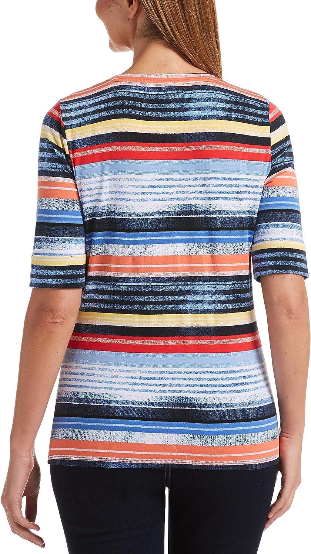 Rafaella Womens Seaside Stripe Jersey Short Sleeve Tee