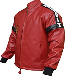 (Real Leather) Burt Reynolds Smokey and The Bandit Out Jacket, Red, Sheep Leather
