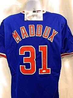 Greg Maddux Chicago Cubs Signed Autograph MLB Custom Blue Jersey JSA Certified