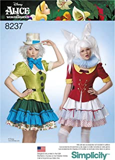 Simplicity 8237 Disney Alice in Wonderland White Rabbit and Mad Hatter Costume Sewing Pattern, Sizes 6-14