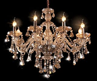 Cognac 8 Lights Modern Luxurious K9 Crystal Chandelier,Candle Pendant Lamp Ceiling Living Room Lighting for Dining Room Bedroom,Chandelier Made with Swarovski Crystal, 31x26 Inch Gifts(Cognac Color)