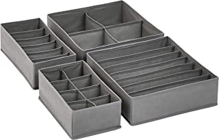 AmazonBasics Grey Dresser Drawer Storage Organizer for Undergarments, Set of 4