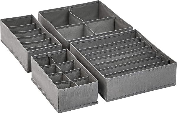 AmazonBasics Grey Dresser Drawer Storage Organizer For Undergarments Set Of 4
