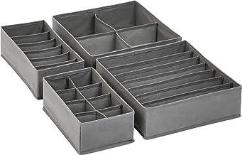 Amazon Basics Grey Dresser Drawer Storage Organizer for Undergarments, Set of 4