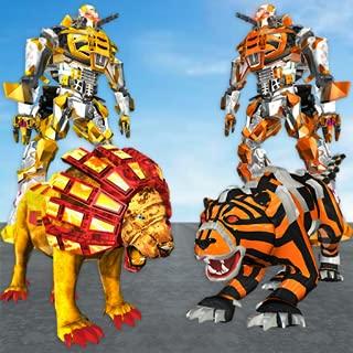 US Police Lion Robot vs Tiger Robot Wars Transform