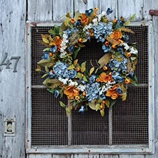 Darby Creek Trading Autumn Blue Hydrangea, Poppy Blooms and Gold Magnolia Leaf Front Door Fall Wreath