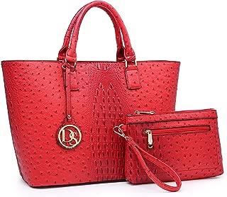 red ostrich leather handbag