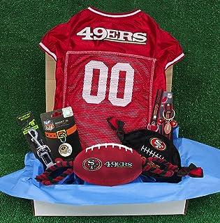 NFL San Francisco 49Ers PET GIFT BOX with 2 Licensed DOG TOYS, 1 Logo-engraved NATURAL DOG TREAT, 1 NFL JERSEY, 1 NFL Pupp...