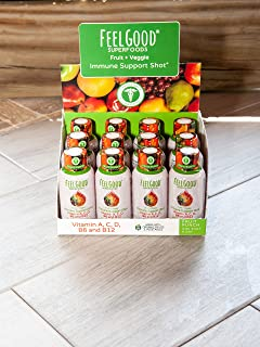Immune Support Shot | 12 Pack Fruit Punch | 25 Organic Fruits & Veggies | Vitamins A, C, D, B6 and B12 | Gluten Free, Non-...