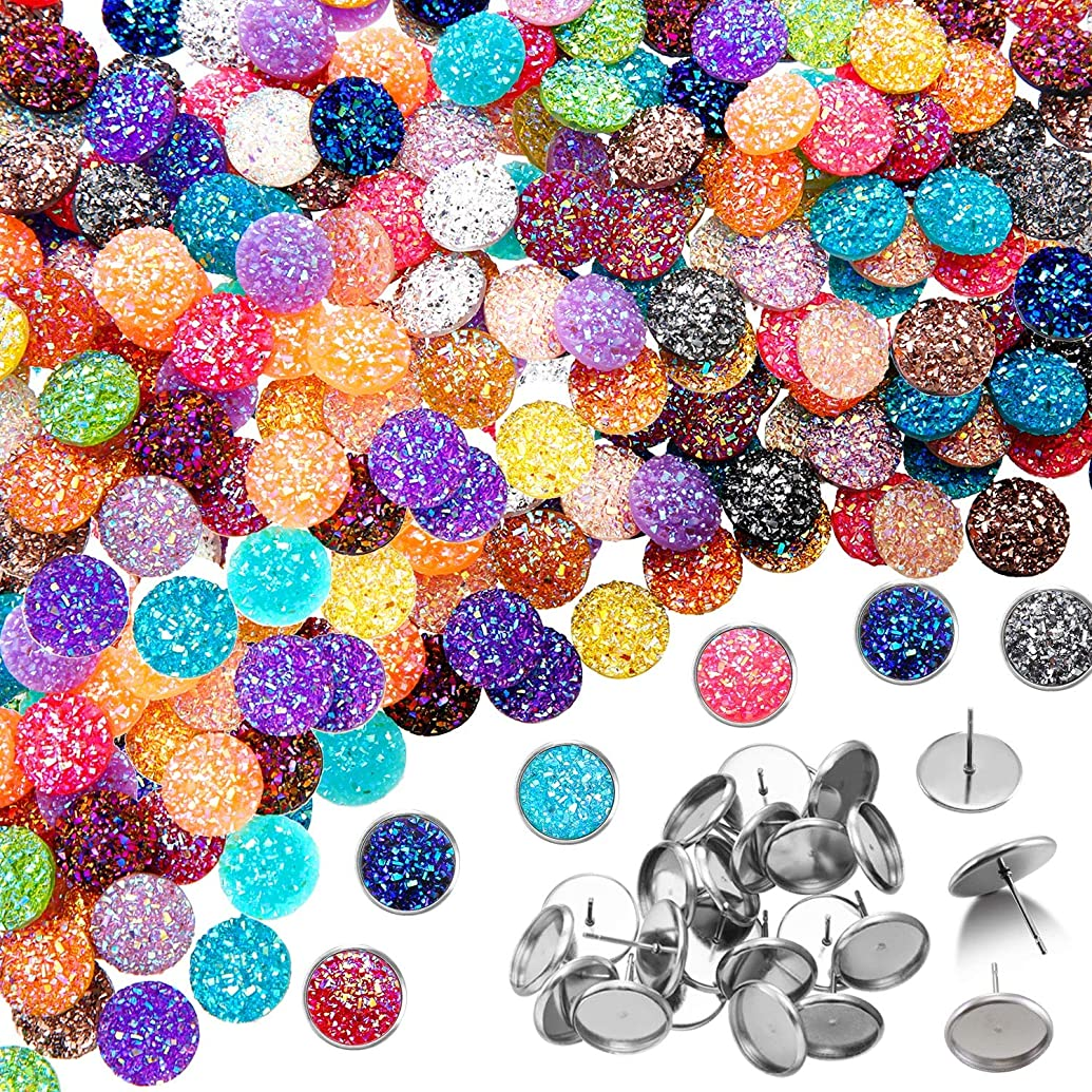 200 Pieces 20 Colors 12 mm Druzy Resin Cabochons Faux Druzy Cabochons Flat Back Dome Cabochons with 20 Pieces Stainless Steel Stud Earring for Jewelry Making, DIY Craft