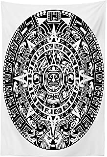 Lunarable Aztec Tapestry, Mayan Calendar End of The World Prophecy Mystery Cool Culture Design Print, Fabric Wall Hanging Decor for Bedroom Living Room Dorm, 30
