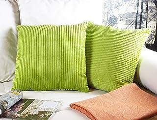 2 Fundas Cojines 45 x 45 cm, Cojines Pana Color Verde. Cojín Terciopelo suave a rayas, Hecho en España (panancha-ver-l-45x45