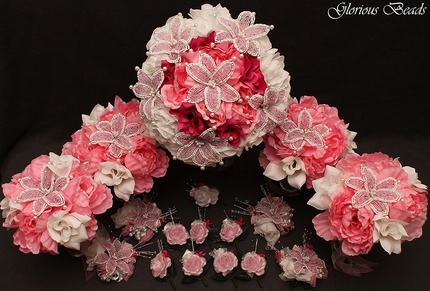 Pink and White Beaded Lily Omaha Mall Long-awaited Bridal set 18 wi Flower Wedding piece