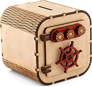 pranali enterprise Wooden Money Bank Square Size Small Piggy Bank Decorative Home Decor Coin Box for Kids Gift