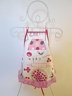 Tablier fille à froufrou en tissu écru avec des ustensiles de cuisine 4/6 ans -4-