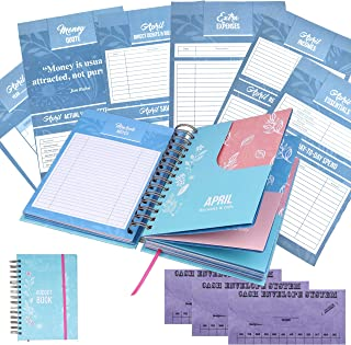 Budget Planner Bill Organizer Book - (Non-Dated) Monthly Budget Notebook and Expense Tracker – Finance Planner Bundled with Cash Envelopes – Budget Ledger with Pockets