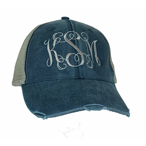 3218d4ce Mary's Monograms Monogrammed Distressed Trucker Hat Navy Blue
