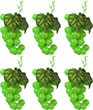 Set of 6 Green Faux Artificial Grape Bunches Each Bunch Measures 7