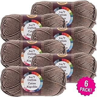 Lion Brand 98709 24/7 Cotton Yarn-6/Pk-Cafe, 6/Pk, Cafe Au Lait 6 Pack