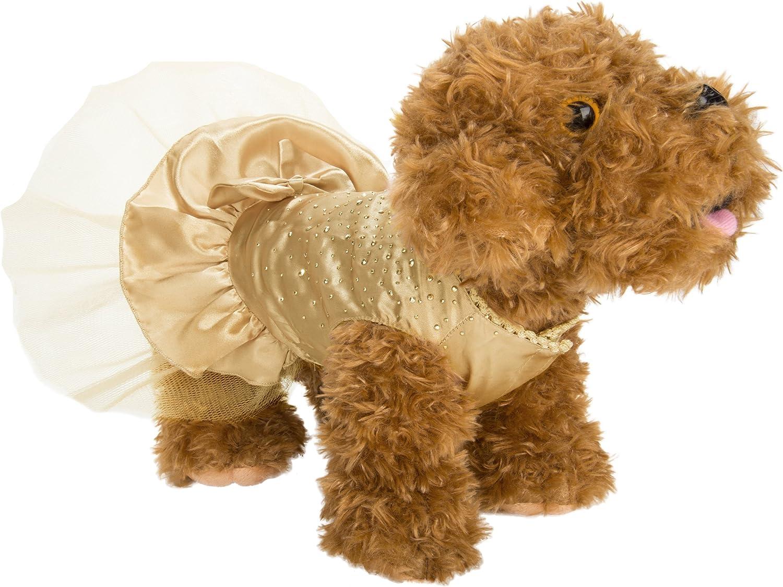CueCue Pet Sparkly Rhinestone Princess Dress, XSmall, gold