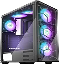 MUSETEX Phantom Black ATX Mid-Tower Case with 6pcs RGB Fans - USB 3.0 Tempered Glass Panel - PC Gaming Case Decent Cable M...