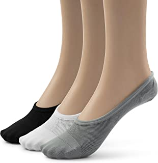 SilkyToes Women's 3 Pairs No Show Socks,Breathable Mesh Foot Liners With Non Slip Silicone Grip Tab