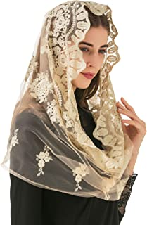Pamor Soft Gold Embroidered Traditional Vintage Inspired Infinity Veil Mantilla Veils Mass Head Covering