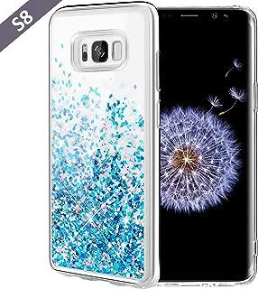 Caka Galaxy S8 Case, Galaxy S8 Glitter Case Liquid Series Luxury Fashion Bling Flowing Liquid Floating Sparkle Glitter Girly Soft TPU Case for Samsung Galaxy S8 (Blue)