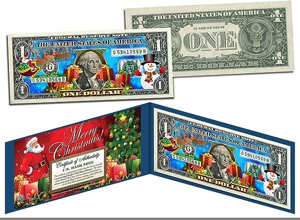 MERRY CHRISTMAS Colorized 1 Bill U S Legal Tender SANTA SNOWMAN Jingle Bucks