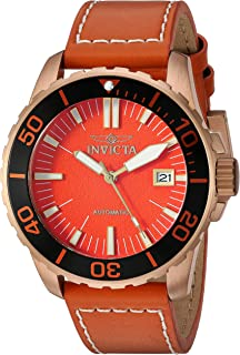 Men's Pro Diver Stainless Steel Automatic-self-Wind Watch with Leather-Synthetic Strap, Orange, 21.5 (Model: 25646)