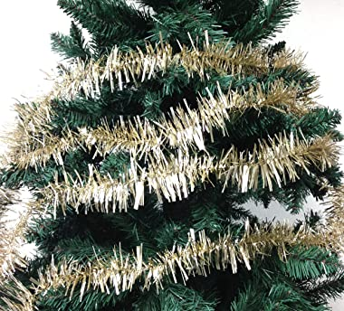 PEPPERLONELY 36 FT Christmas Tinsel Garland Classic Christmas Decorations, Champagne