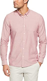 French Connection Men's Berry Melange Oxford Long Sleeve Custom FIT Shirt, Berry Melange