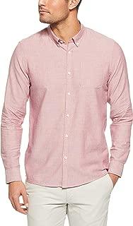 French Connection Men's Berry Melange Oxford Long Sleeve Custom FIT Shirt, Berry Melange