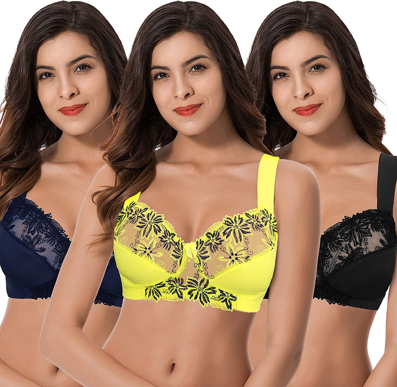 Popular product Curve Muse Plus Size Minimizer Unlined Now on sale Bra Lace with Wireless Em