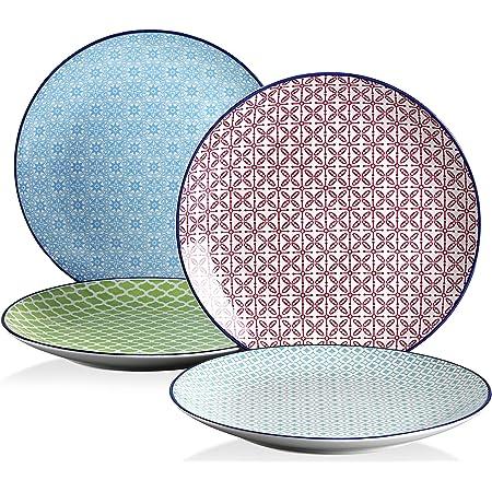 vancasso, Série Macaron, Assiette Plate Japonaise en Porcelaine, 4 Pièces, Assiette à Dîner Multicoloré- 27 cm