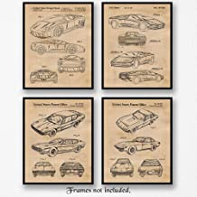 Vintage Lamborghini Patent Poster Prints, Set of 4 (8x10) Unframed Photos, Wall Art Decor Gifts Under 20 for Home, Office, Garage, Man Cave, Studio, College, Student, Teacher, Italy Cars & Coffee Fan