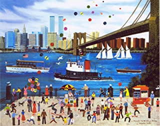 BENEATH THE BROOKLYN BRIDGE is a HAND SIGNED LIMITED EDITION offset Lithograph with an ORIGINAL REMARQUE by WOOSTER SCOTT