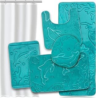 Effiliv Bathroom Rugs Set 5 Piece Memory Foam Mats + Eva Shower Liner, Extra Soft Anti-Slip Shower Large Bath Rugs – Happy Feet, Happy Life, Teal