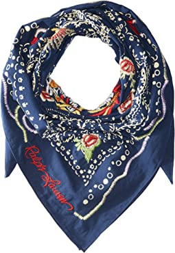 Dragon Embroidered Cotton Bandana Scarf