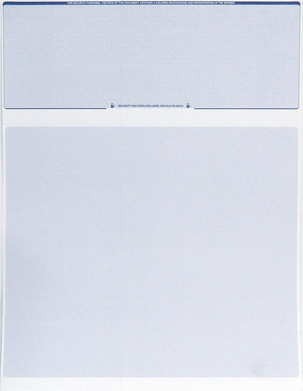 Endoc Computer Check Paper - 50 Pack - Blank Stock Check on Top and Stub on Bottom - Security Features & Laser Printer Compatible for Home and Business – Blue Diamond