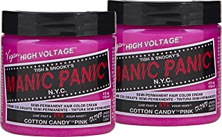 Manic Panic Cotton Candy Pink Hair Color Cream (2-Pack) Classic High Voltage Semi-Permanent Hair Dye – Vegan, PPD & Ammonia-Free - Ready-to-Use, No-Mix Coloring