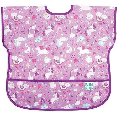 Bumkins Junior Bib/Short Sleeve Toddler Bib/Smock, 1-3 Years, Waterproof, Washable, Stain and Odor Resistant – Unicorn,