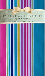 """Newbridge Hannah Bright Casual Stripe Vinyl Flannel Backed Tablecloth - Cotton Candy Stripe Indoor/Outdoor Waterproof Picnic, BBQ and Dining Tablecloth - 52"""" x 70"""" Oblong/Rectangle"""
