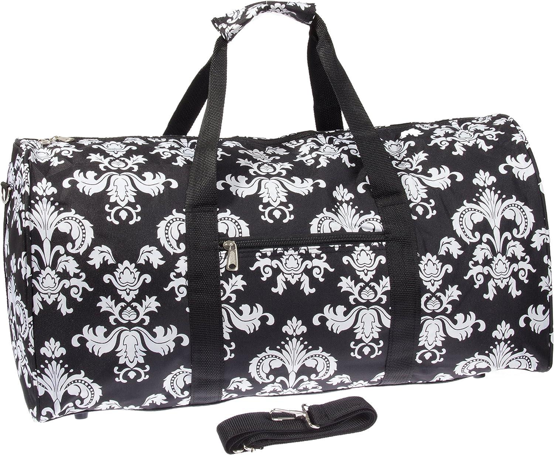 55,9cm Carry On Travel Schule Gym Teen Damen Duffel Bag, Damask II - schwarz & Weiß (Schwarz) - 6778776