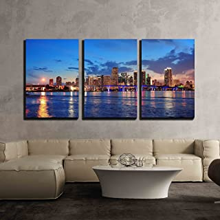 wall26 - 3 Piece Canvas Wall Art - Miami City Skyline Panorama at Dusk with Urban Skyscrapers and Bridge Over Sea - Modern Home Decor Stretched and Framed Ready to Hang - 24