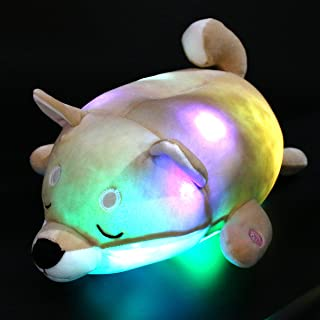 Houwsbaby LED Shiba Plush Pillow Light Up Dog Stuffed Animal with Colorful Night Lights Chubby Toys Glow in Dark Gift for Kids Friends Halloween Christmas, Light Brown, 16 inches