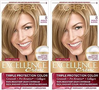 L'Oréal Paris Excellence Créme رنگ مو دائمی ، 8 بلوند متوسط ، 2 رنگ COUNT 100٪ پوشش مو خاکستری